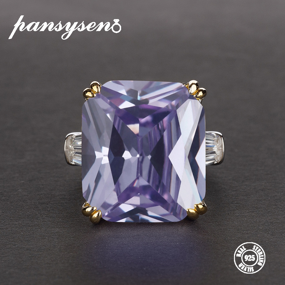 PANSYSEN Exquisite Solid 925 Sterling Silver Jewelry Rings For Women Light Purple Amethyst Birthstone Cocktail Party Ring Gifts