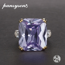 PANSYSEN Exquisite Solid 925 Sterling Silver Jewelry Rings For Women Light Purple Amethyst Birthstone Cocktail Party Ring Gifts leige jewelry heart cut amethyst rings unique wedding ring february birthstone ring purple gems ring 925 sterling silver gifts