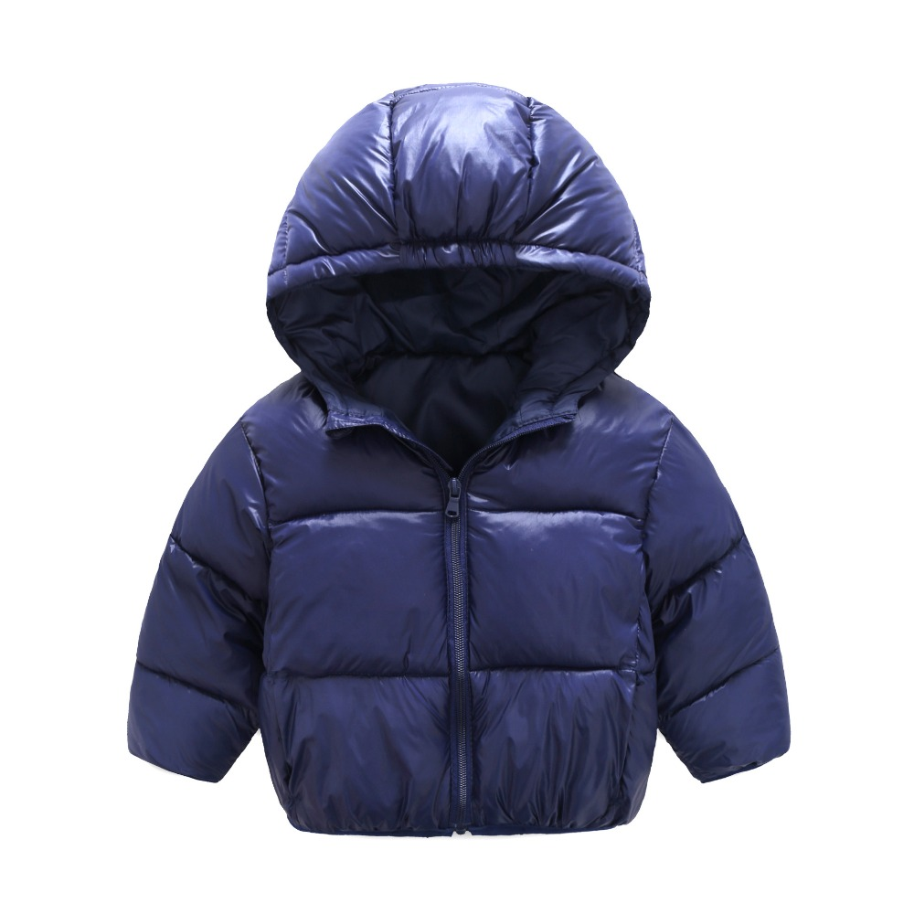80-120cm Baby Winter Jackets for Girls Boys Candy Color Hooded Kids Winter Coats Outerwear Clothes