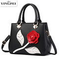 2017 Spring Flower Tote Bag Luxury Brand Pu Leather Women Handbag messenger houlder Handbag Famous Designer Crossbody Bags YINGP