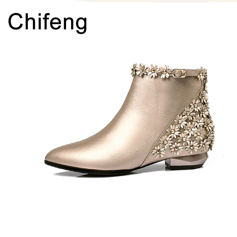 women's shoes boots women floral ankle boots for womens winter shoe women fashion 2017