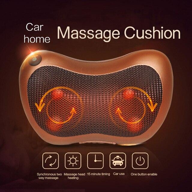 Boyun masajı omuz arka bacak vücut masaj yastığı elektrikli Shiatsu Spa ev/araba gevşeme yastık ile LED ışık ısı masajı
