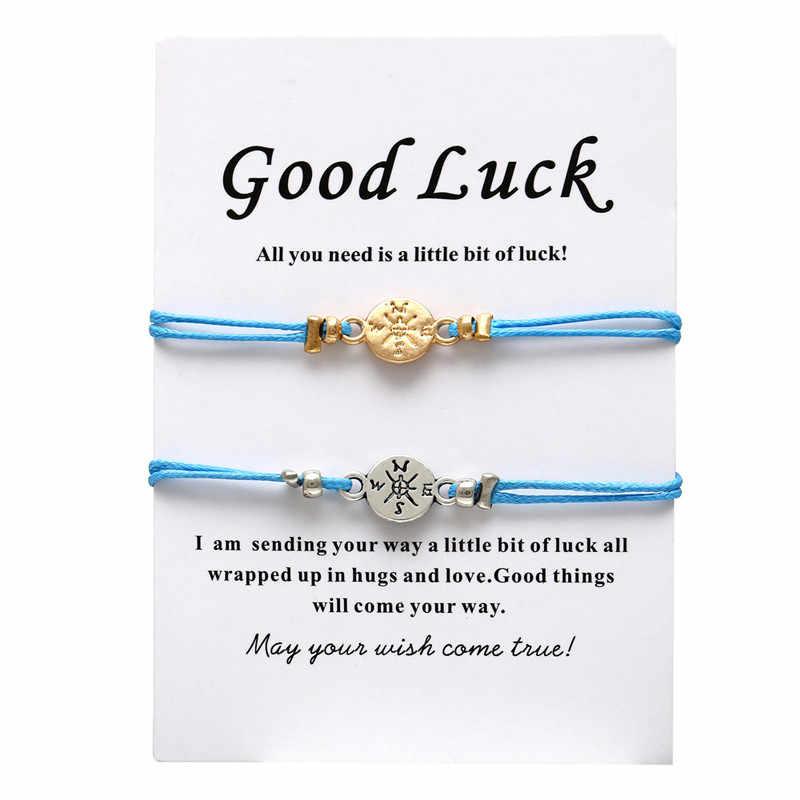 17 KM moda nieskończony kamień pary bransoletki zestaw i wiadomość karty dla kobiet mężczyzn najlepszy przyjaciel odległość bransoletka 2019 chcesz biżuteria