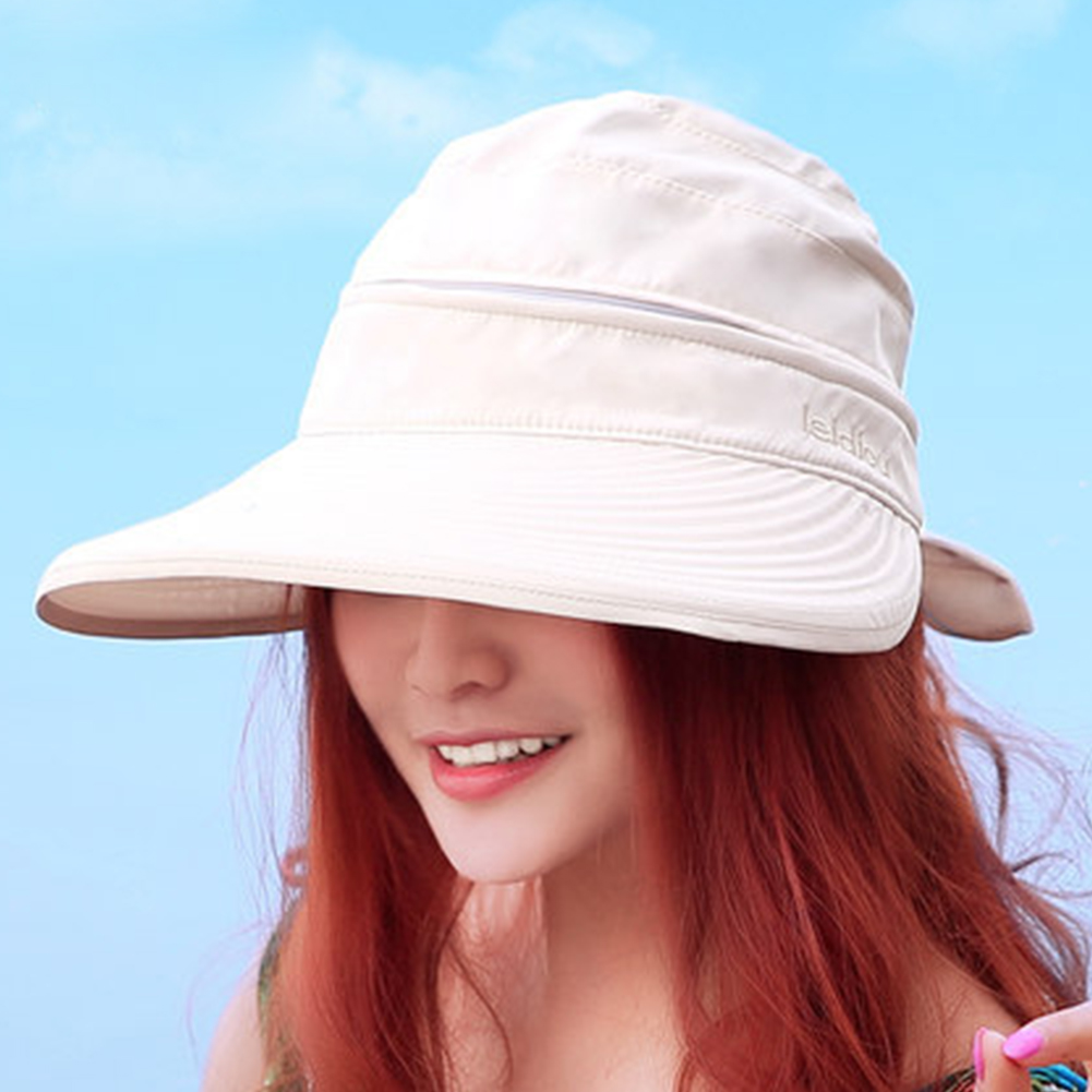 Ladies Korean Style Fashion Beach Hiking Sun Hat Foldable Cap Outdoor Practical Summer Bowknot Visors Solid Travel