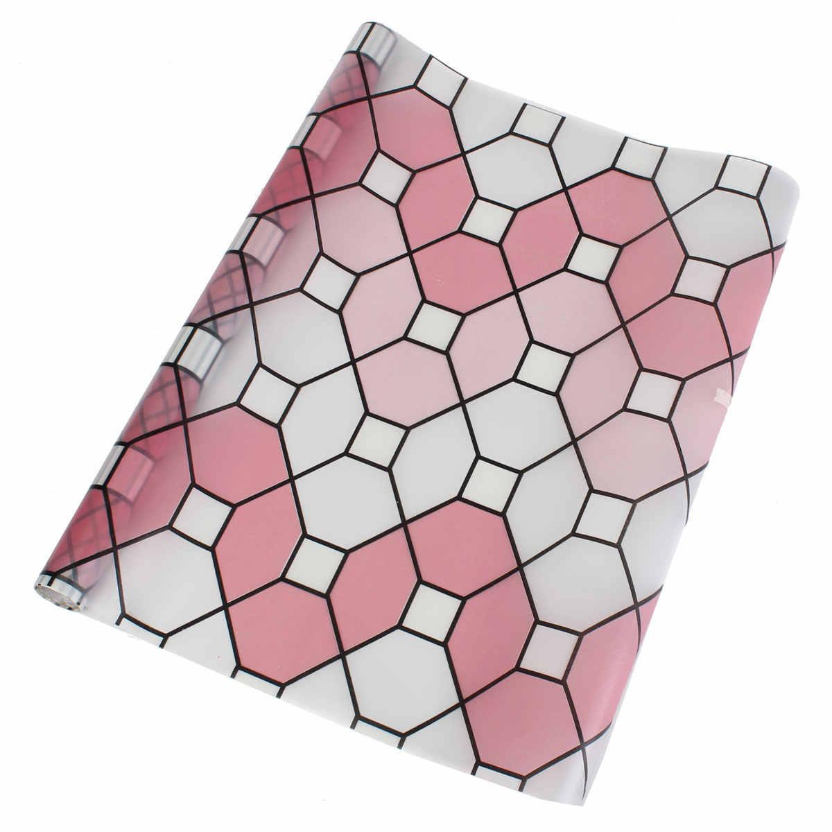 Матовый винил конфиденциальности Стекло окна Плёнки цветок Наклейки Room Decor 45 x 90cm-Geometry