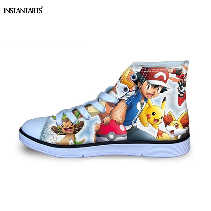 INSTANTARTS Cartoon Anime Pokemon Pikachu 3D Print Kids Casual Shoes Classic High Top Canvas Shoes Children Boys Lace Up Sneaker eyelet lace botanical print top