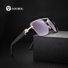 AOUBOU Brand Design Classic Logo Sunglasses Men UV400 Driving Eyewear With Box Metal Blue Frame Occhiali Da Sole AB717