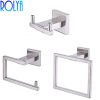 ROLYA 3 Piece Bathroom Kit Satin Nickel Finish Wall Mounting Stainless Steel SUS304 Robe Hook Toilet Paper Holder Towel Ring