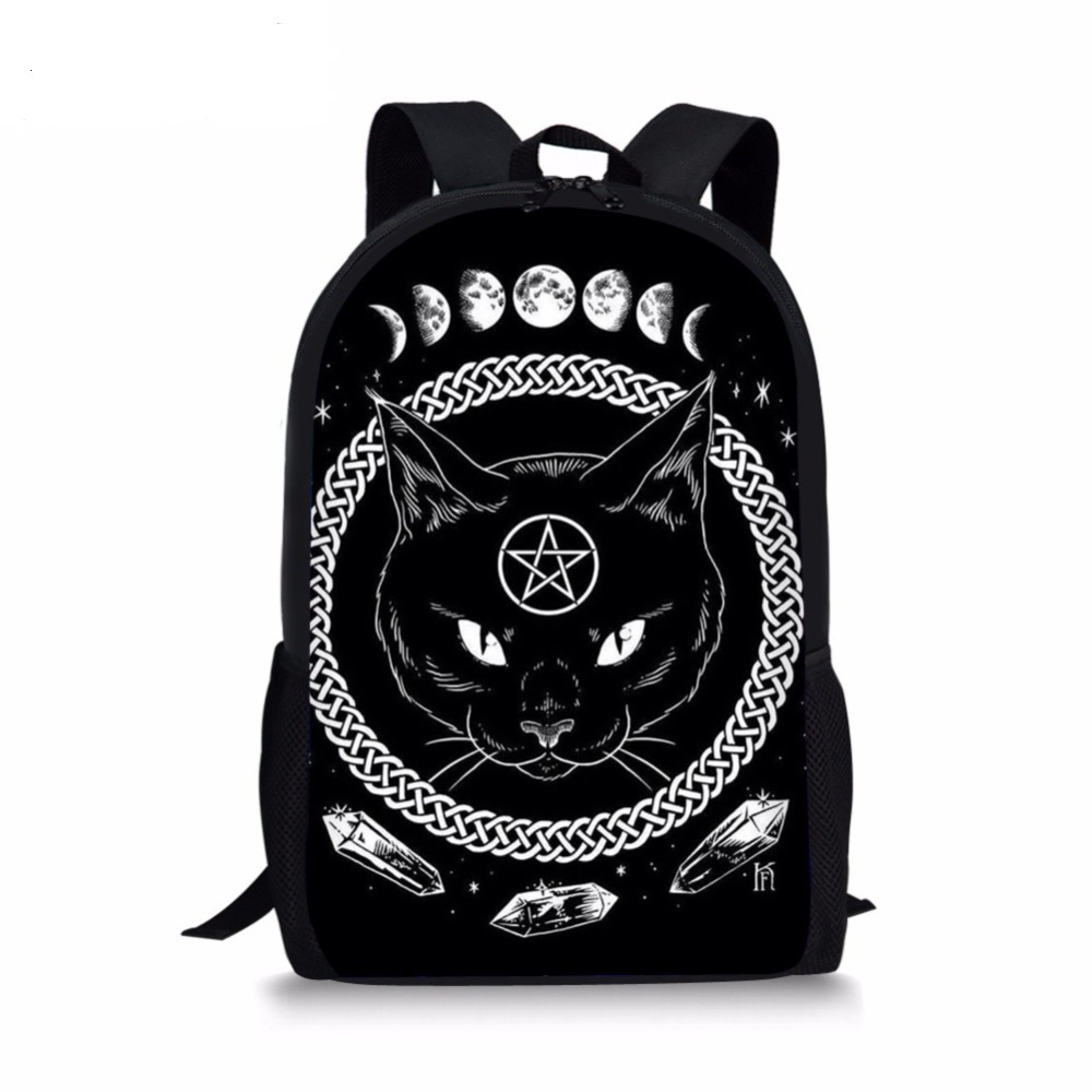 New Gothic Moon Phase Backpacks For Teenage Boys Girls The Witching Hour Witchcraft Black Cat School Bags Kids Rucksack