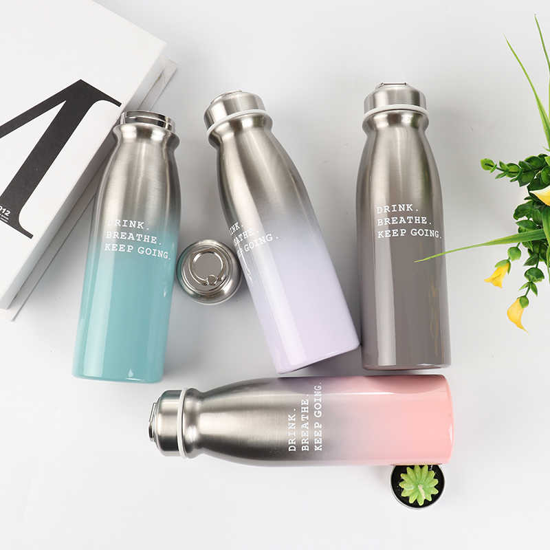350ML Fashion Portable stainless steel Gradient Milk bottle shape coffee thermos water bottle Double wall vacuum water bottle