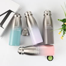 350ML Fashion Portable stainless steel Gradient Milk bottle shape coffee thermos water Double wall vacuum