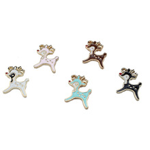 6pcs european and american popular christmas fawn diy jewelry accessories drop oil alloy pendant