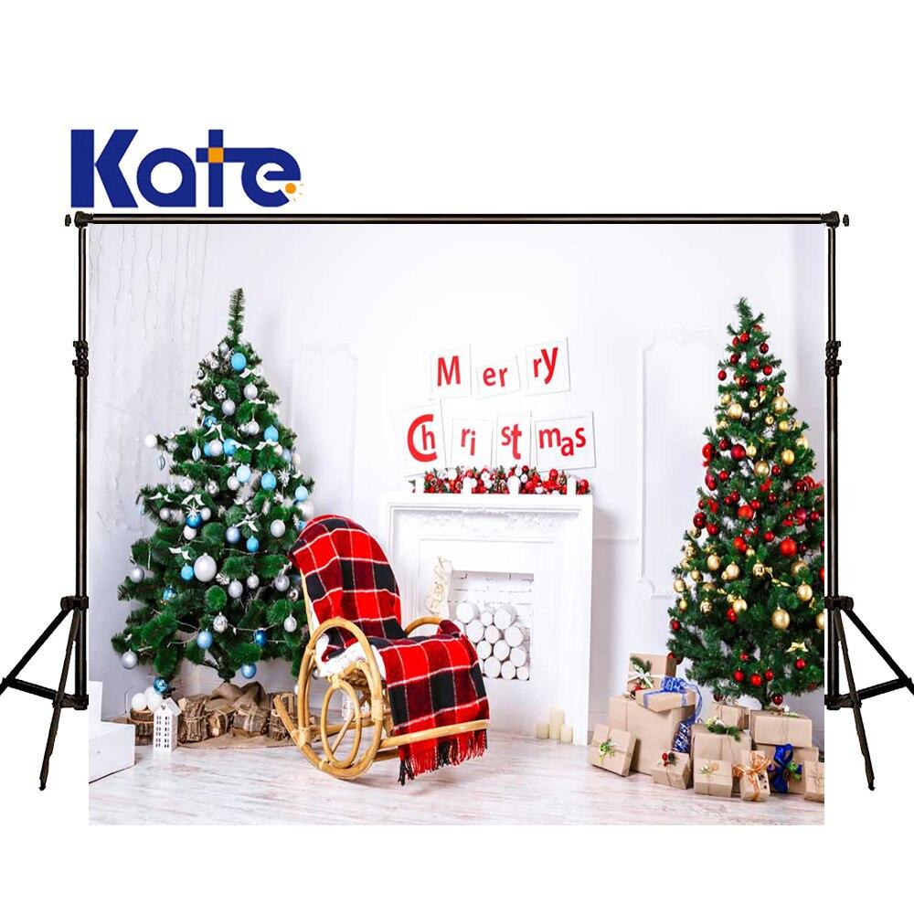 KATE Photographie Arrière-Plan De Noël Photographie Famille Décors De Noël Arbre Décors Blanc Mur de Briques Toile de Fond