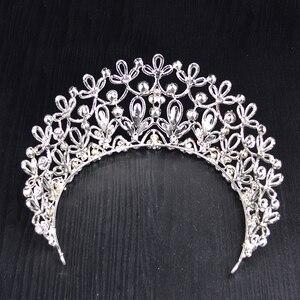 Image 5 - Novo ouro cor prata luxo grande cristal tiaras ctrstal strass pageant coroas barroco casamento acessórios de cabelo HG 036