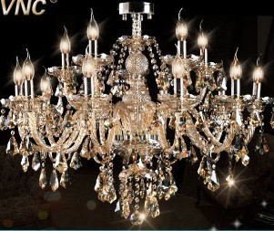EMS VNC european-style luxury crystal lamp sitting room bedroom chandeliersThink dense crystal - 15 head cognac color - top