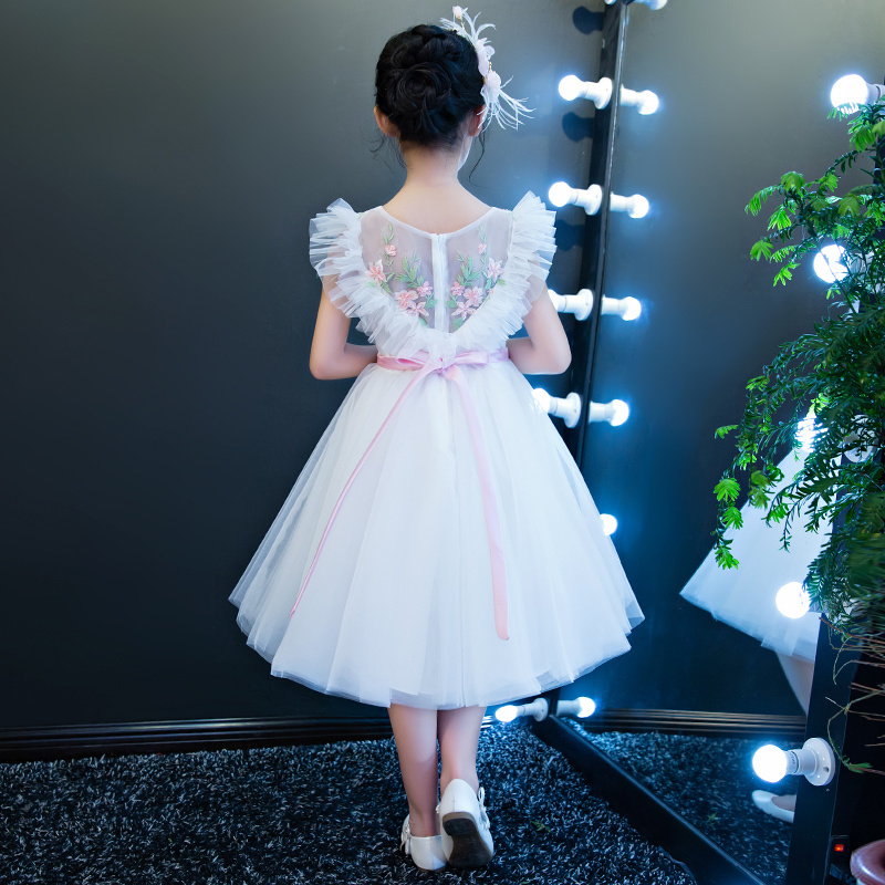 Luxury Princess Dress 2018 Ball Gown Flower Girls Dresses V-neck Holy Communion Dress Kids Pageant For Wedding Party Dress D145 scalloped v neck skater dress