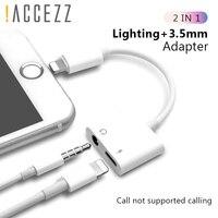 ¡! ACCEZZ-Adaptador 2 en 1 para iPhone X, 7, 8 plus, XS MAX, divisor, conector de 3,5mm, Cable auxiliar, adaptador de carga de escucha