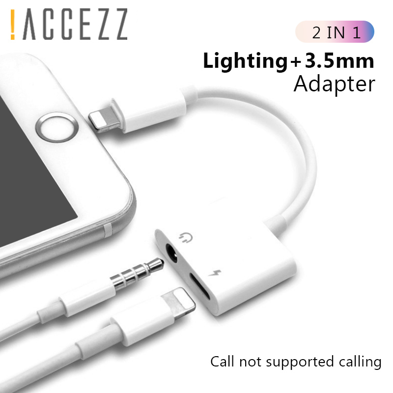 !ACCEZZ <font><b>2</b></font> <font><b>in</b></font> <font><b>1</b></font> Adapter For <font><b>iPhone</b></font> X 7 8 plus XS MAX Splitter 3.5mm Jack Earphone Aux <font><b>Cable</b></font> Listening Charging Connecter Adapters image