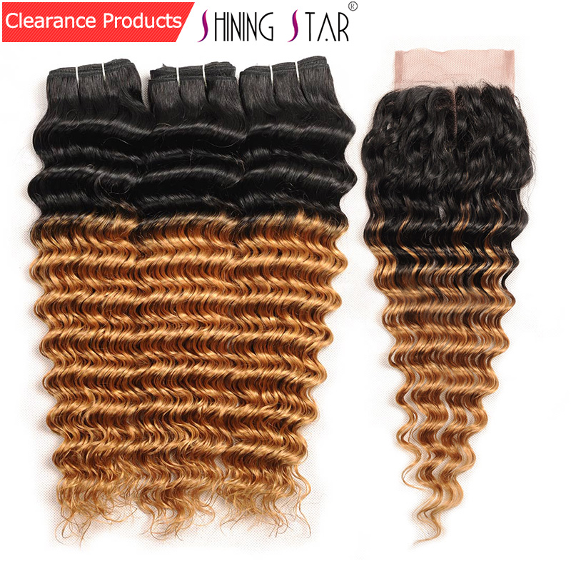 Shining Star 3 Brazilian Ombre Deep Wave Bundles With Closure Colored 1B 27 Honey Blonde Bundles