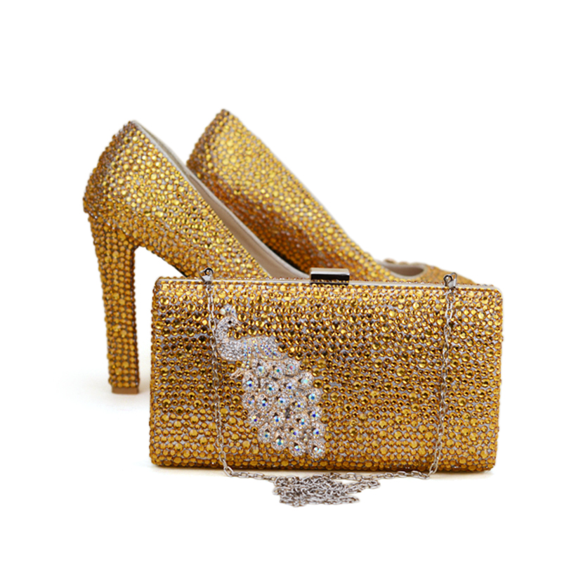 82fa8cf5de47 Gold Rhinestone Wedding Shoes Thick Heel Women Party Prom Pumps with Matching  Bag Gorgeous Bridal Dress Shoes with Purse Size 12-in Women s Pumps from  Shoes ...
