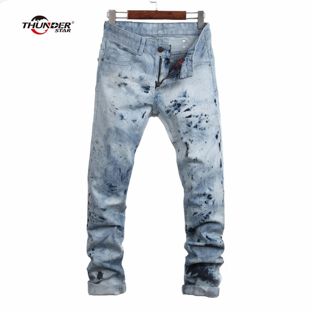 50c20210 THUNDER STAR ashion Jeans Men 100% Cotton Famous Brand Designer Men Jeans  With Crystal Wings