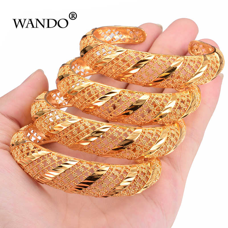 WANDO 4pcs/lot African Bangles for Women's Gold Color Dubai Jewelry Ethiopian Bangle Arab Bracelets,Bridal Gift/Mom Present b145