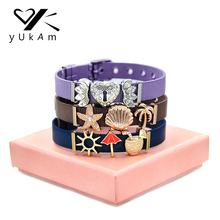 YUKAM Jewelry Crystal Heart Lock Silver Sun Sea Shell Starfish Coffee Mesh Bracelets Friendship Sister Bracelets for Women Gifts