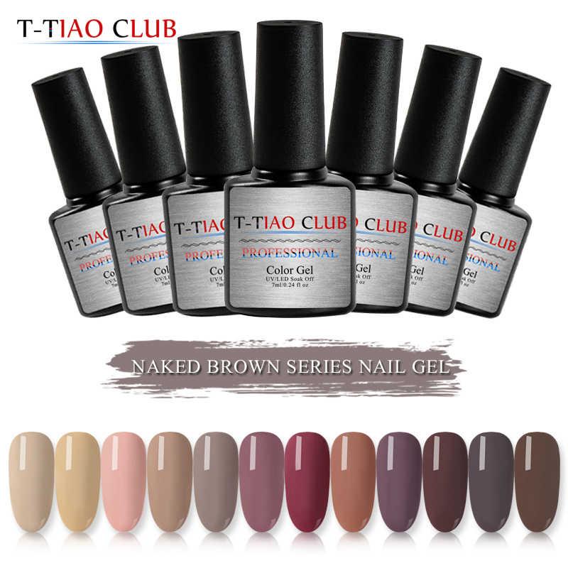 T-TIAO CLUB 7ml Serie Cafe Pure Chiodo di Colore Del Gel Polish Caramello Caffè Soak Off UV Lacca Per Unghie Unghie artistiche Decorazioni manicure