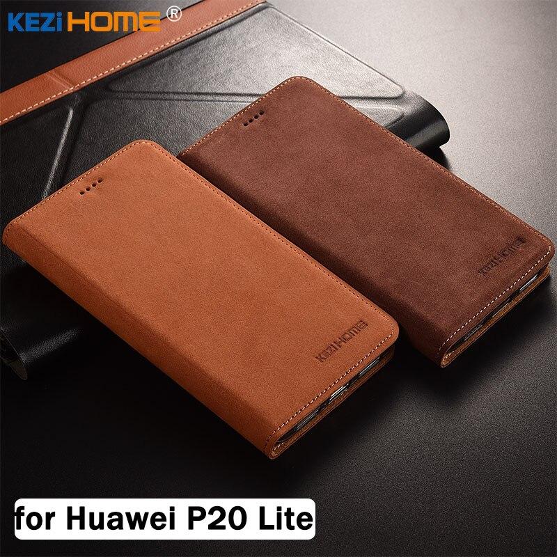 Pour Huawei P20 Lite cas KEZiHOME De Luxe Mat En Cuir Véritable Flip Stand Couverture En Cuir capa Pour Huawei P20 Lite 5.84 ''cas