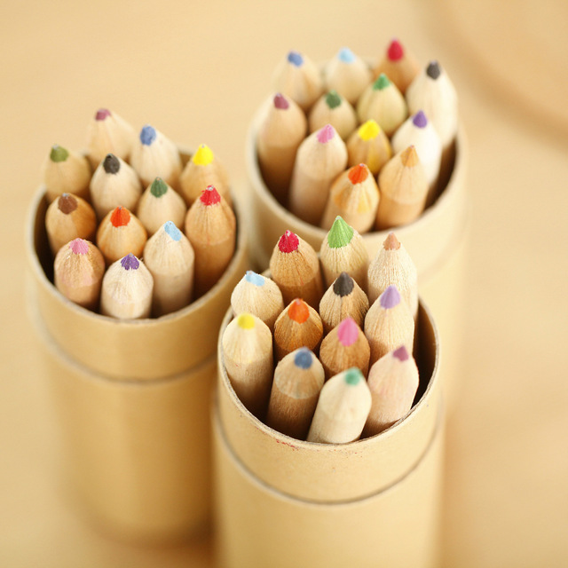 12 pcs/box DIY Wooden Colored Pencil With Pencil Sharpener Cute Crayon For Kids Student Drawing Graffiti Gift School Stationery
