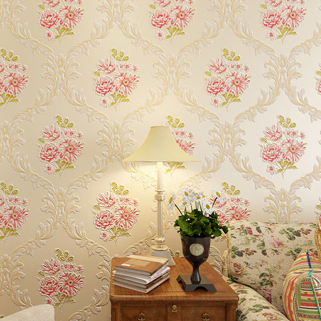 aliexpress com buy 3d pastoral floral wallpaper embossed