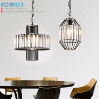 Modern Personality American Style Iron And Crystal Chandelier Restaurant Bar Nordic Pendant Lamp