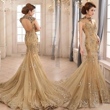 JX1 Fashionable High Neck Long Gold Mermaid Prom Dresses 2016 Sexy Backless Sequined Flowers Evening Dress For graduation