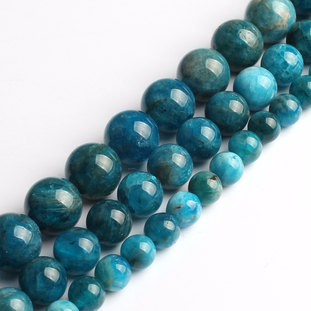 A+  Natural  Beads 6mm/8mm/10mm Blue Apatite Stone Beads For Jewelry Making Bracelet Necklace 15inches