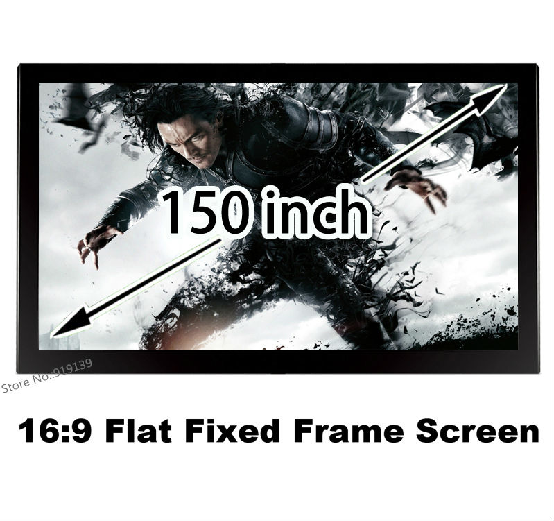 New 150 Inch Flat Fixed Frame Projection Screen 16:9 High Gain Display Projector Screens For 3D Home Cinema Theater Show good gain cinema projection screen 16 9 curved fixed frame projector screens 120 inch hd matt white suit for 3d cinema display