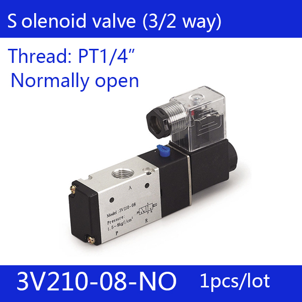 1PCS Free shipping good quality 3 port 2 position Solenoid Valve 3V210-08-NO normally open,have DC24v,DC12V,AC110V,AC220V free shipping 2pcs 1 25 normally open water solenoid valve 2w350 35 no ac110v