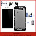 Blanco/negro para apple iphone 6 4.7 pulgadas lcd pantalla táctil digitalizador asamblea + botón de inicio y cámara + vidrio templado + herramientas