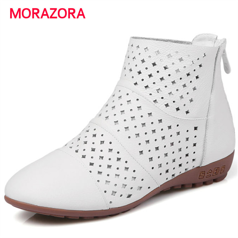 MORAZORA 2018 new fashion spring autumn ankle boots comfortable low heel wedges genuine leather boots round toe zipper bootsMORAZORA 2018 new fashion spring autumn ankle boots comfortable low heel wedges genuine leather boots round toe zipper boots