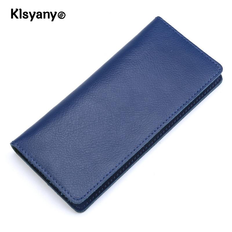 Klsyanyo Soft Genuine Leather Fashion Men Women Wallets Long Design Purse Female Long Clutch Purse Card Holders Portefeuille