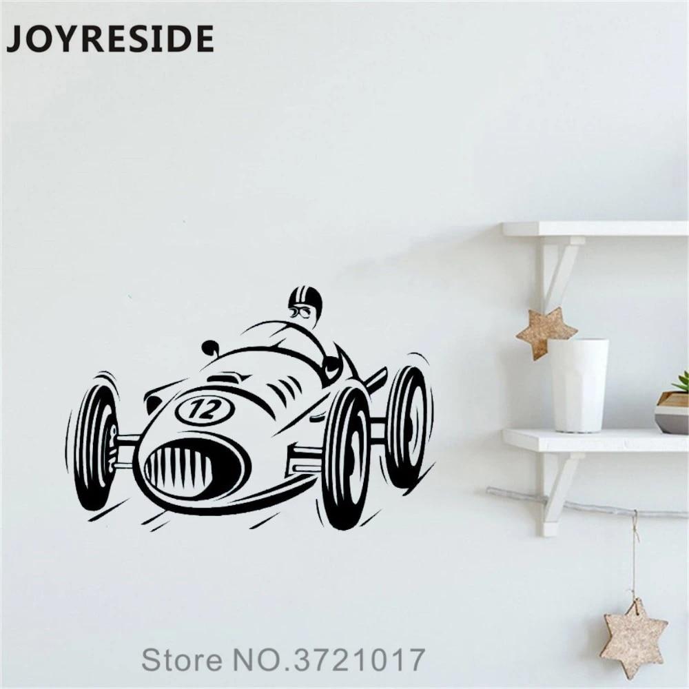 Joyreside Racing Car Little Car Wall Decal Retro Race Wall Sticker Cute Vinyl Decor Home Boy Bedroom Decor Interior Design A1170 Wall Stickers Aliexpress