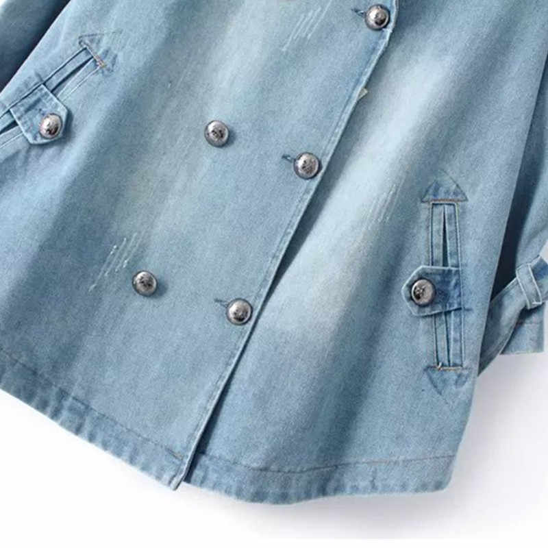 Vrouwen Denim Windjack Jas Herfst NIEUWE Double-Breasted Losse Cowboy Mantel Jas Grote Maat Casual Vrouwen Jeans Trenchcoat K379