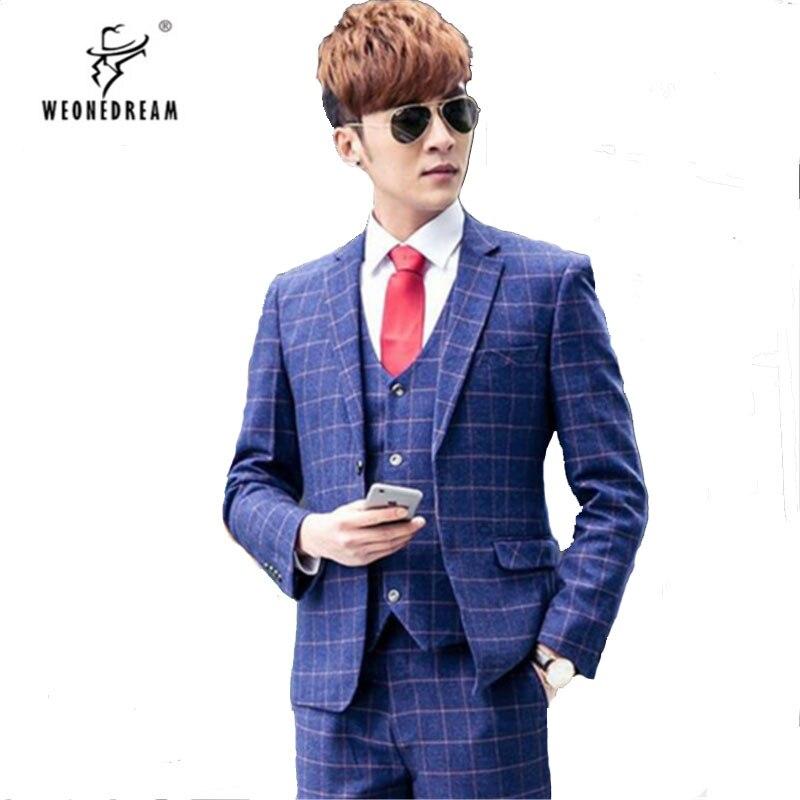 Hommes costume en lin bleu 3 pièces Veste + Pantalon + cravate 2018 Hommes  Slim Fit f534125e375