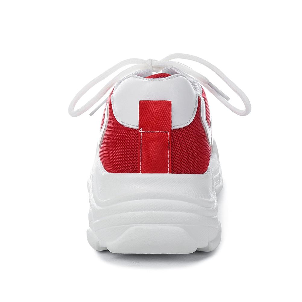 46 Karinluna Été Femme À 29 Printemps Décontracté Grande Chaussures Pour Noir Appartements couleur rouge Mixte 2019 Papa forme Femmes Lacets Taille Sneakers Plate xrwCrqgY