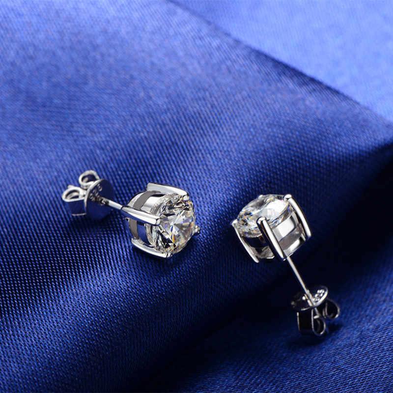 AINUOSHI קלאסי עגול לחתוך נשים Stud עגילי 925 כסף סטרלינג עגילי חתונה תכשיטי nscd עגילי לילדה 3- 10mm