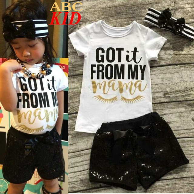 Letters GOT it From My Mama Shirt + Sequins Shorts + headband Girls Clothing Sets Kids White Shirts Black Short Pants KD405