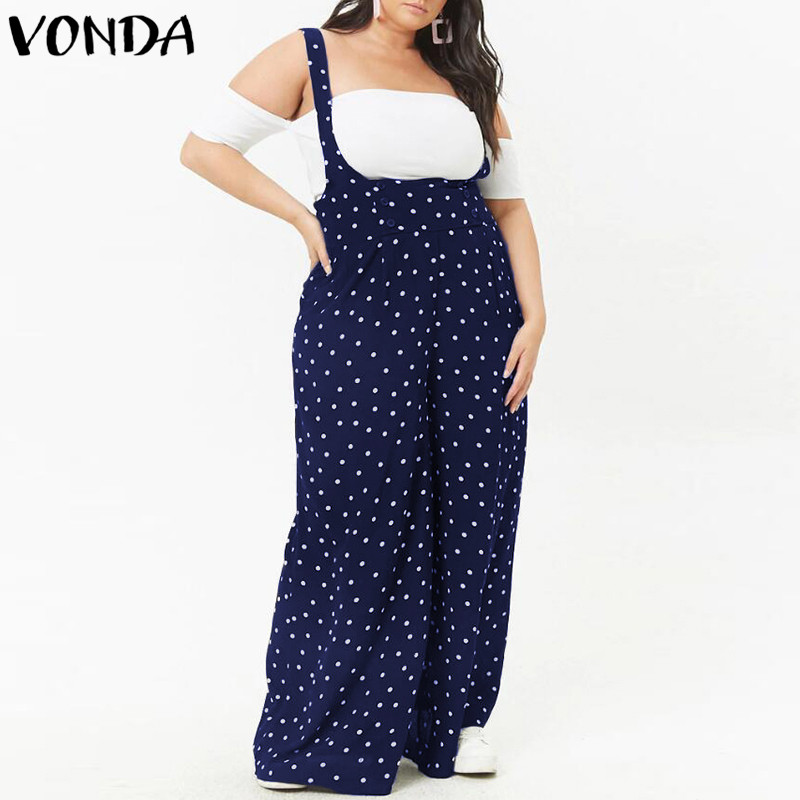 2018 Summer Dot Print Rompers Womens Jumpsuits Sexy Vintage Bodysuit Casual Loose Trousers VONDA Playsuits Plus Size Overalls 3