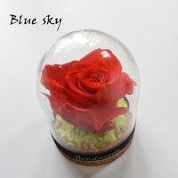 บลูสกายที่สวยงามฝาครอบแก้วสดที่เก็บรักษาไว้ดอกกุหลาบสำหรับHandmdeงานแต่งงานคริสต์มาสตกแต่ง...