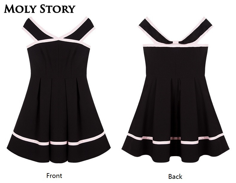 Super! Elegant Ladies Little Black Patchwork Dress Strapless Party - Women's Clothing - Photo 4