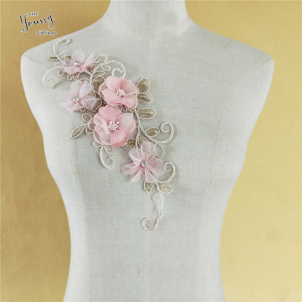New style Lace Collar DIY Costume Accessories Fine 3D flower Gold embroidery Decoration Neckline Sewing Craft Supplies YL1174