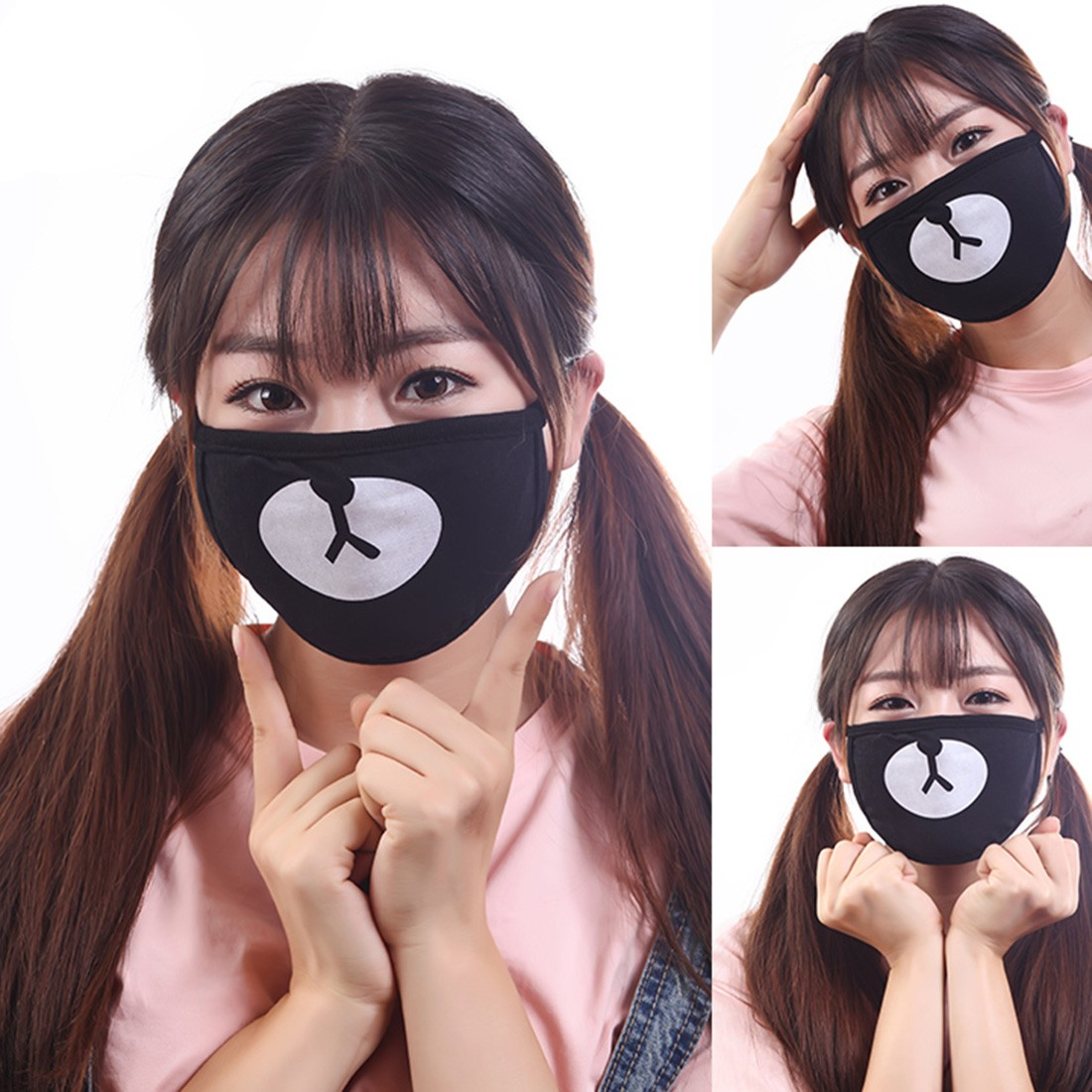 1pc Unisex Dustproof Cotton Mouth Mask Korean Kpop Style Black Lucky Bear Cycling Anti-Dust Mouth Mask Face Respirator